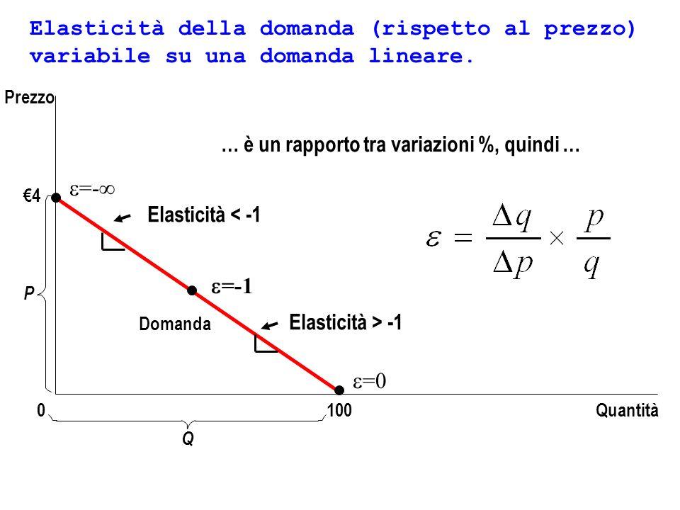 Elasticità della domanda (rispetto al prezzo) variabile su una domanda lineare.