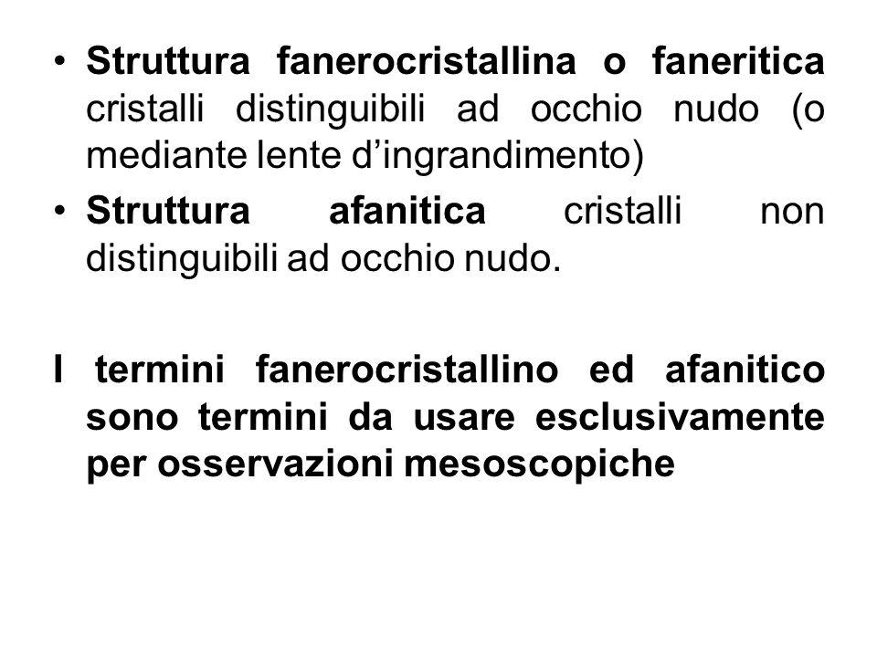 Struttura fanerocristallina o faneritica cristalli distinguibili ad occhio nudo (o mediante lente d'ingrandimento)