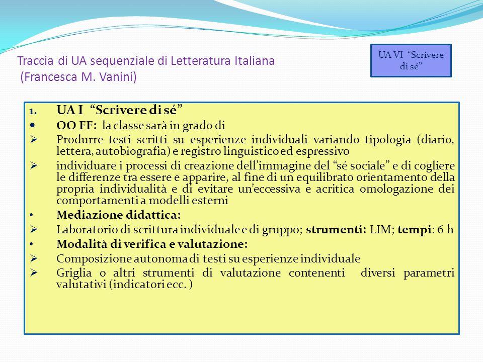 Traccia di UA sequenziale di Letteratura Italiana (Francesca M. Vanini)