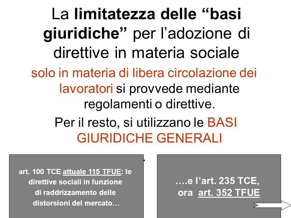 La limitatezza delle basi giuridiche per l'adozione di direttive in materia sociale