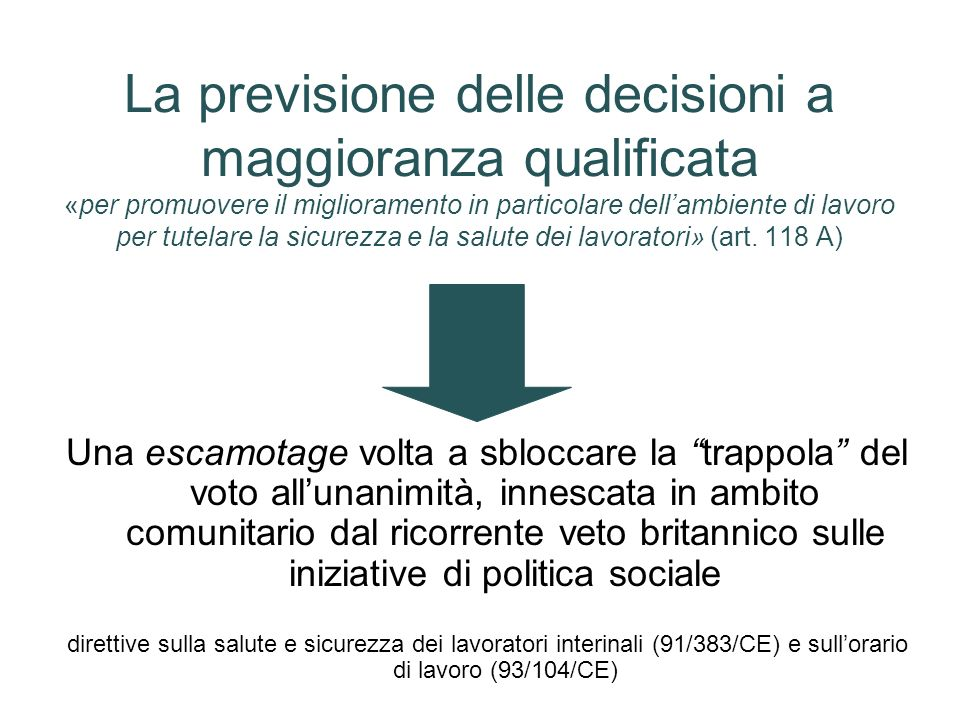 La previsione delle decisioni a maggioranza qualificata «per promuovere il miglioramento in particolare dell'ambiente di lavoro per tutelare la sicurezza e la salute dei lavoratori» (art. 118 A)