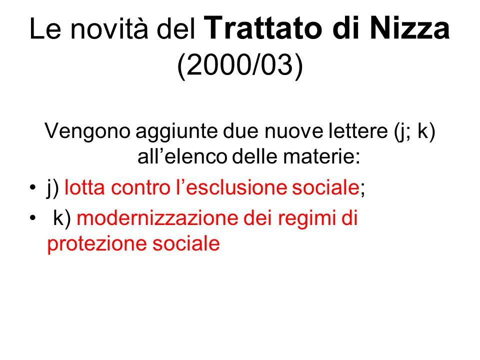 Le novità del Trattato di Nizza (2000/03)