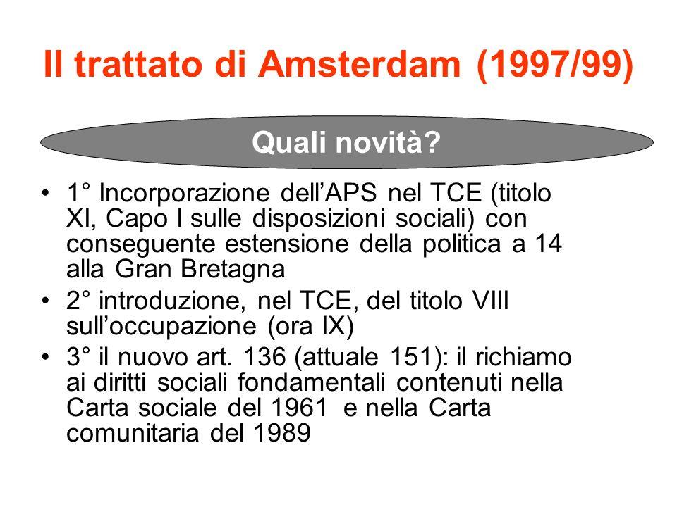 Il trattato di Amsterdam (1997/99)