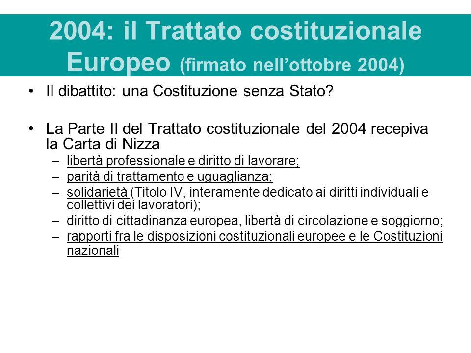 2004: il Trattato costituzionale Europeo (firmato nell'ottobre 2004)