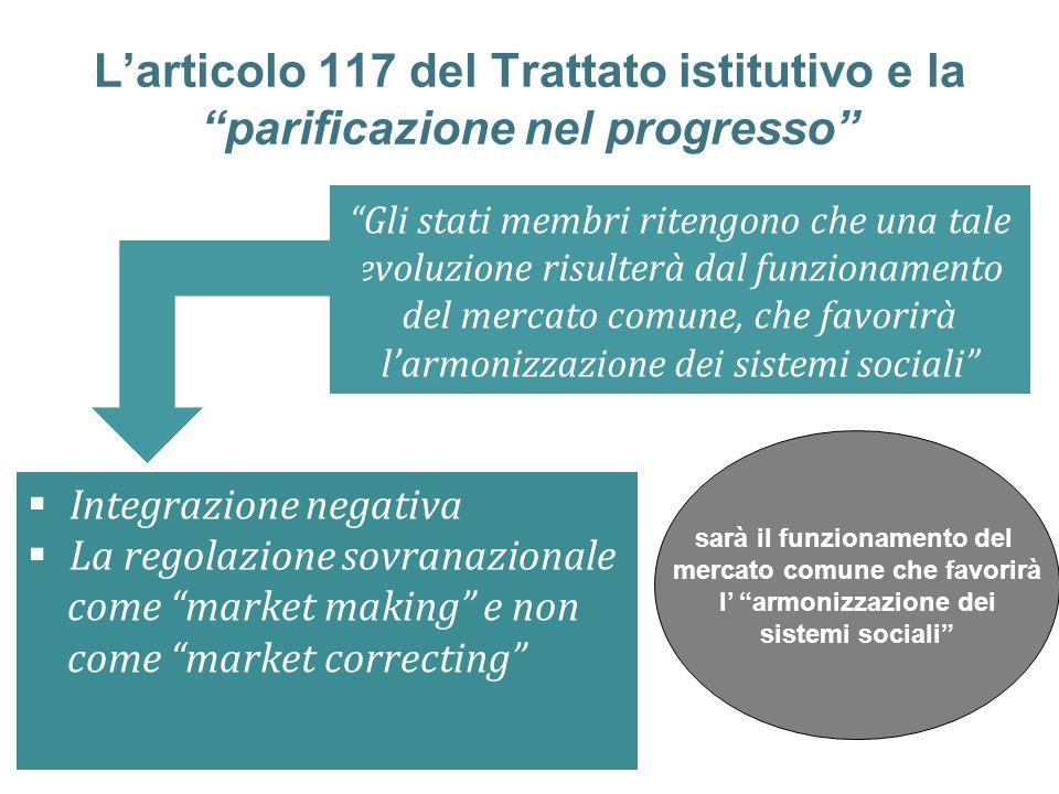 L'articolo 117 del Trattato istitutivo e la parificazione nel progresso