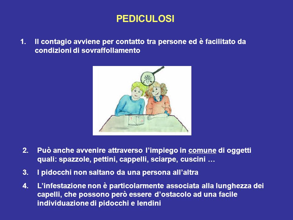 PEDICULOSI Il contagio avviene per contatto tra persone ed è facilitato da condizioni di sovraffollamento.