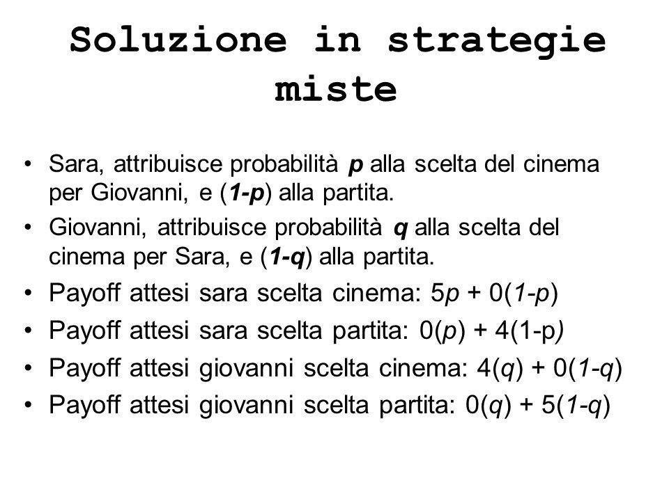 Soluzione in strategie miste