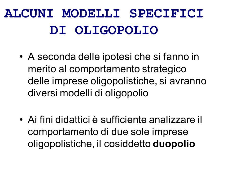 ALCUNI MODELLI SPECIFICI DI OLIGOPOLIO