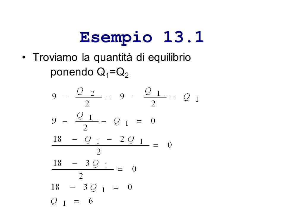 Esempio 13.1 Troviamo la quantità di equilibrio ponendo Q1=Q2