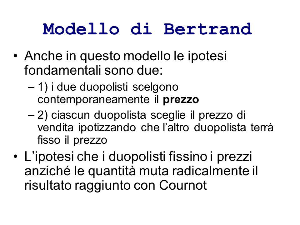 Modello di Bertrand Anche in questo modello le ipotesi fondamentali sono due: 1) i due duopolisti scelgono contemporaneamente il prezzo.