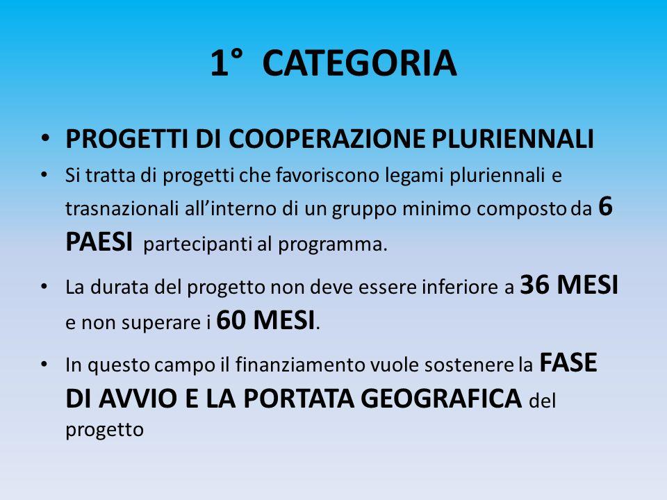 1° CATEGORIA PROGETTI DI COOPERAZIONE PLURIENNALI