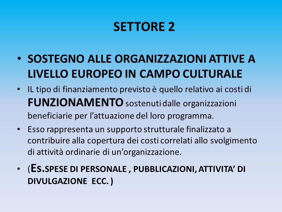 SETTORE 2 SOSTEGNO ALLE ORGANIZZAZIONI ATTIVE A LIVELLO EUROPEO IN CAMPO CULTURALE.