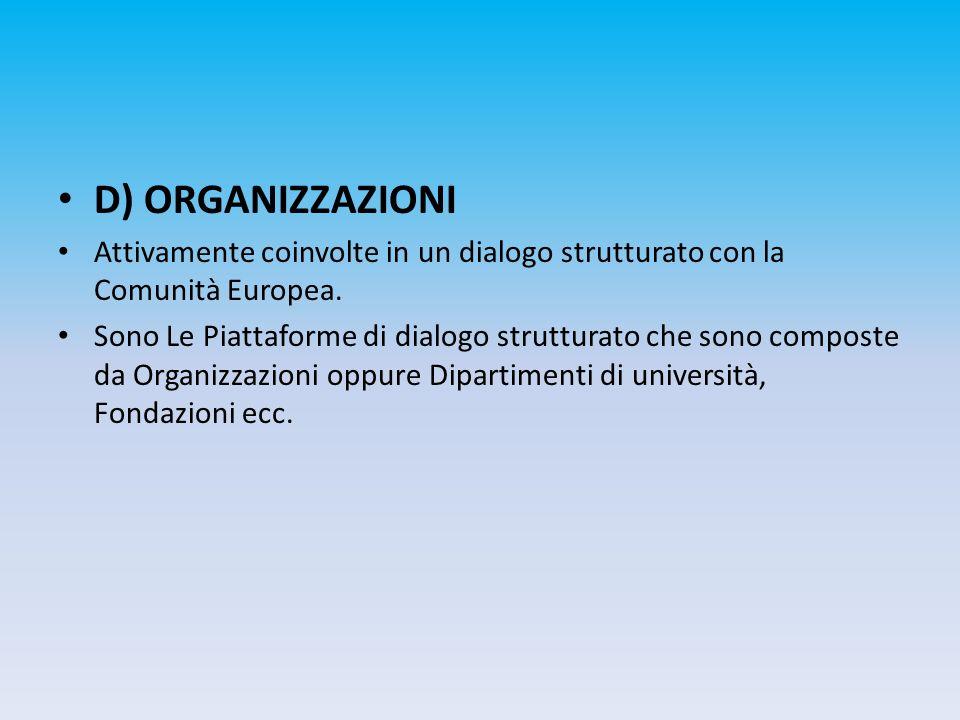 D) ORGANIZZAZIONI Attivamente coinvolte in un dialogo strutturato con la Comunità Europea.