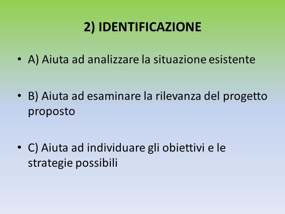 2) IDENTIFICAZIONE A) Aiuta ad analizzare la situazione esistente