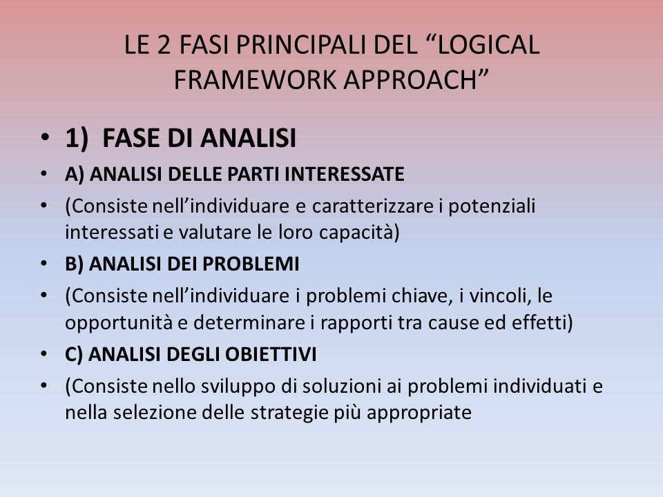 LE 2 FASI PRINCIPALI DEL LOGICAL FRAMEWORK APPROACH