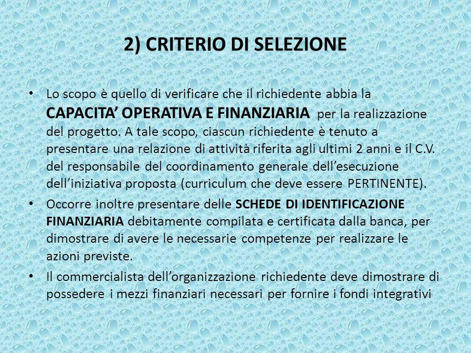 2) CRITERIO DI SELEZIONE