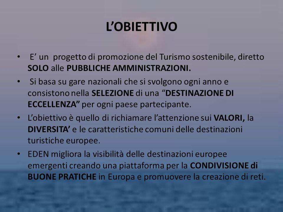 L'OBIETTIVO E' un progetto di promozione del Turismo sostenibile, diretto SOLO alle PUBBLICHE AMMINISTRAZIONI.