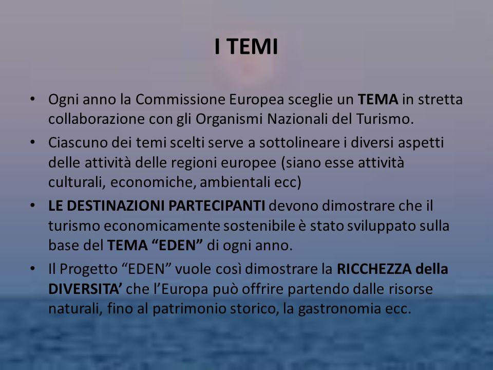 I TEMI Ogni anno la Commissione Europea sceglie un TEMA in stretta collaborazione con gli Organismi Nazionali del Turismo.