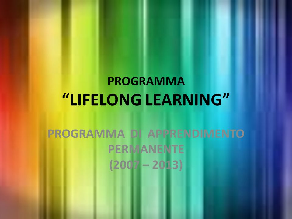PROGRAMMA LIFELONG LEARNING