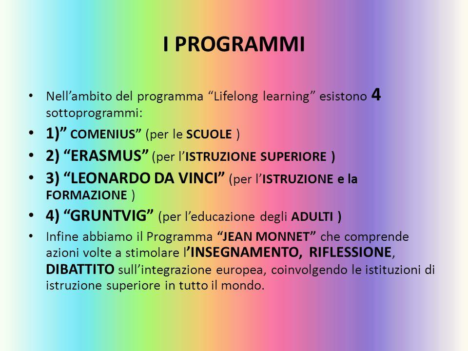 I PROGRAMMI 1) COMENIUS (per le SCUOLE )