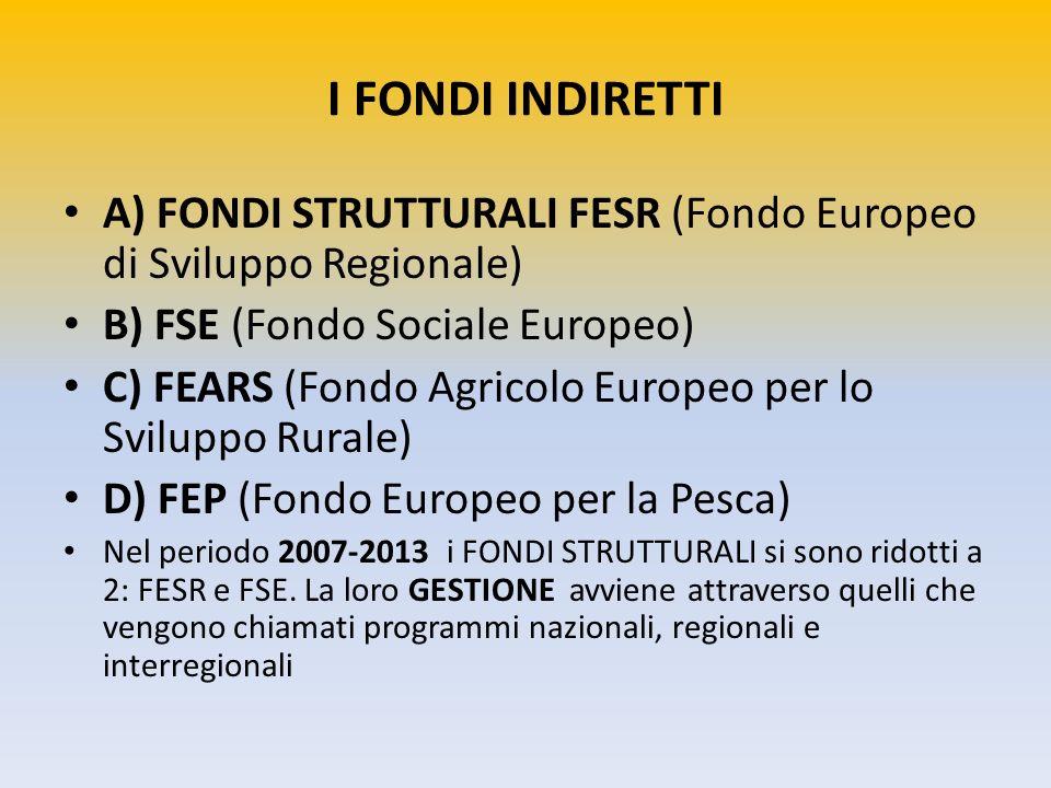 I FONDI INDIRETTI A) FONDI STRUTTURALI FESR (Fondo Europeo di Sviluppo Regionale) B) FSE (Fondo Sociale Europeo)