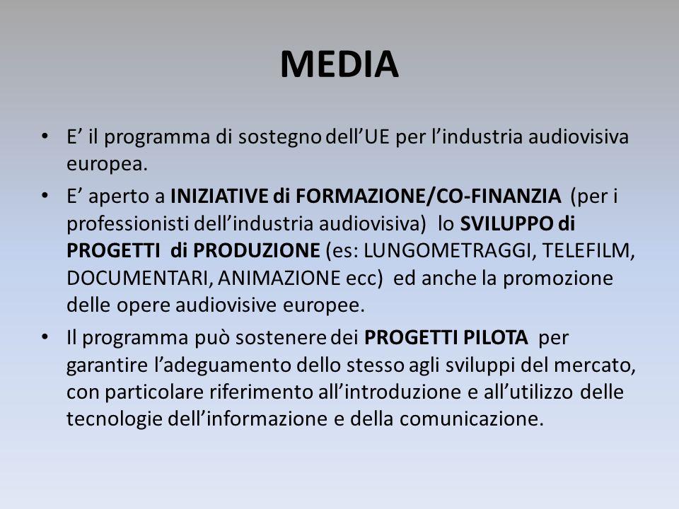 MEDIA E' il programma di sostegno dell'UE per l'industria audiovisiva europea.