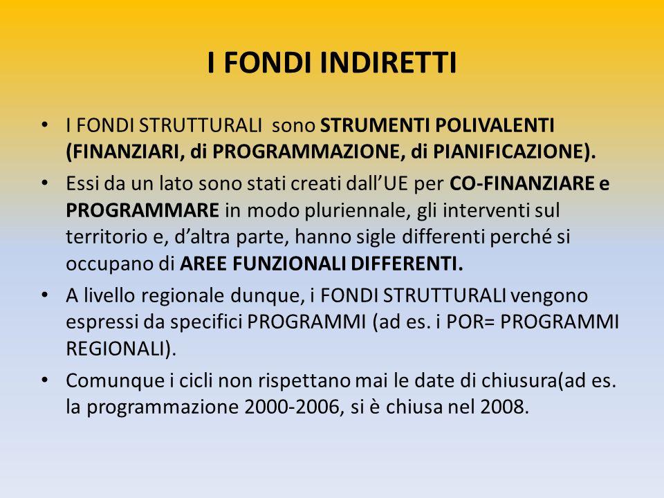 I FONDI INDIRETTI I FONDI STRUTTURALI sono STRUMENTI POLIVALENTI (FINANZIARI, di PROGRAMMAZIONE, di PIANIFICAZIONE).