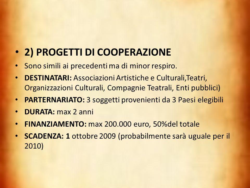 2) PROGETTI DI COOPERAZIONE