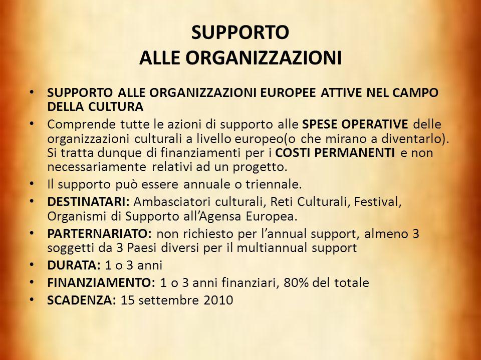 SUPPORTO ALLE ORGANIZZAZIONI