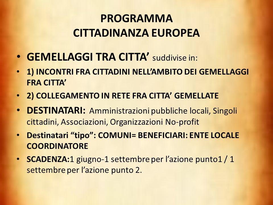 PROGRAMMA CITTADINANZA EUROPEA