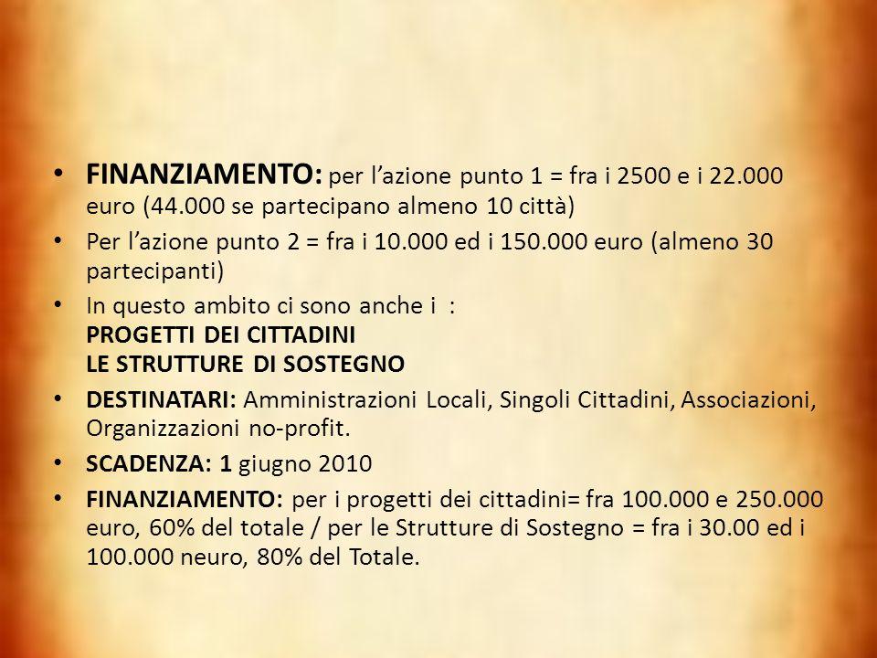 FINANZIAMENTO: per l'azione punto 1 = fra i 2500 e i 22. 000 euro (44