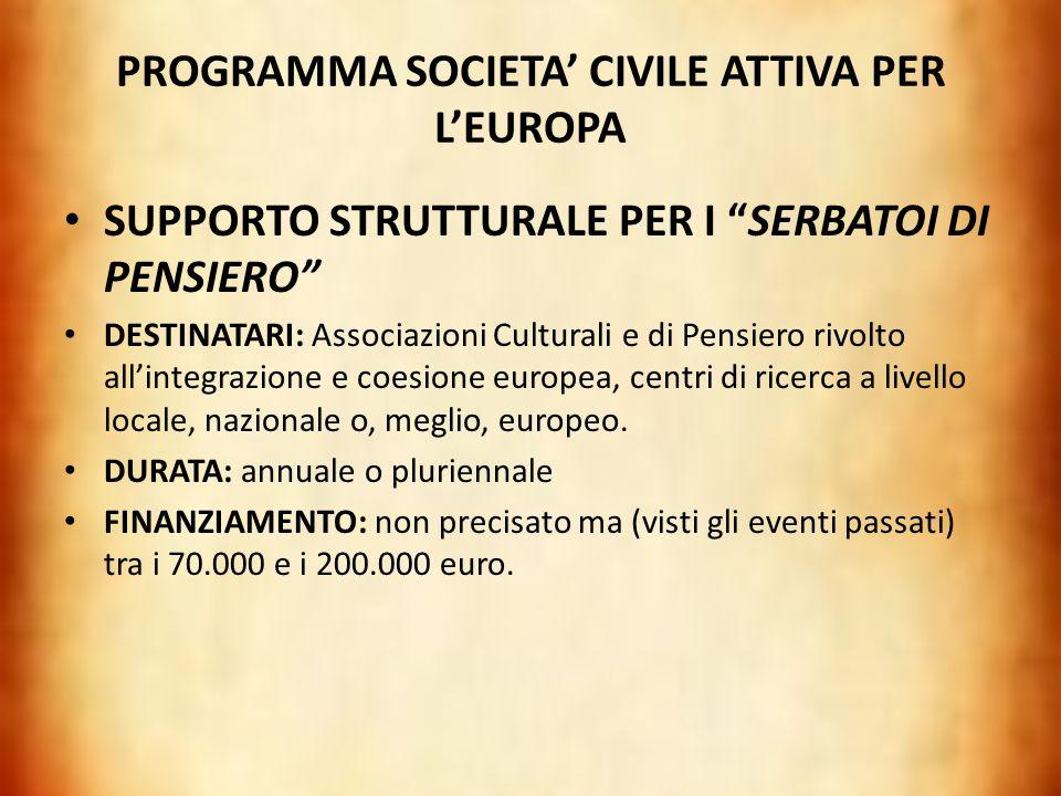 PROGRAMMA SOCIETA' CIVILE ATTIVA PER L'EUROPA