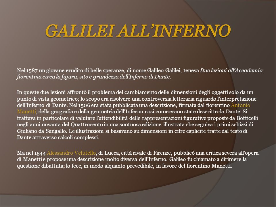 Galilei all'Inferno