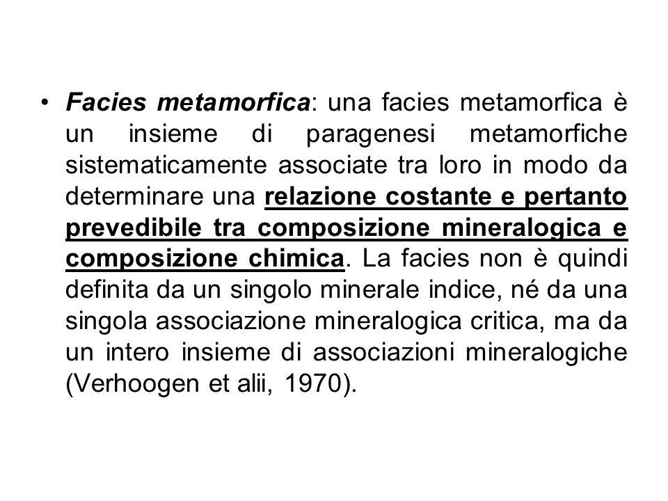 Facies metamorfica: una facies metamorfica è un insieme di paragenesi metamorfiche sistematicamente associate tra loro in modo da determinare una relazione costante e pertanto prevedibile tra composizione mineralogica e composizione chimica.