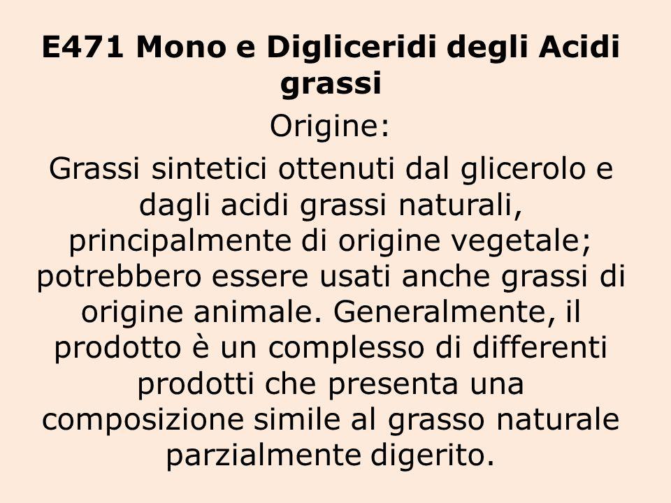 E471 Mono e Digliceridi degli Acidi grassi Origine: Grassi sintetici ottenuti dal glicerolo e dagli acidi grassi naturali, principalmente di origine vegetale; potrebbero essere usati anche grassi di origine animale.