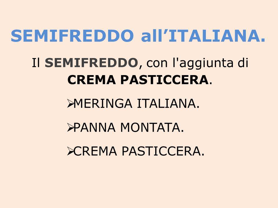 Il SEMIFREDDO, con l aggiunta di CREMA PASTICCERA.