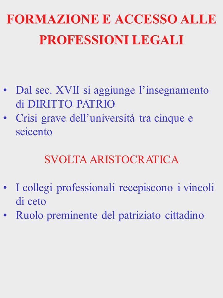 FORMAZIONE E ACCESSO ALLE PROFESSIONI LEGALI