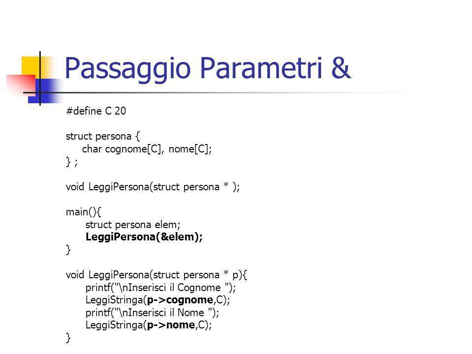 Passaggio Parametri & #define C 20 struct persona {