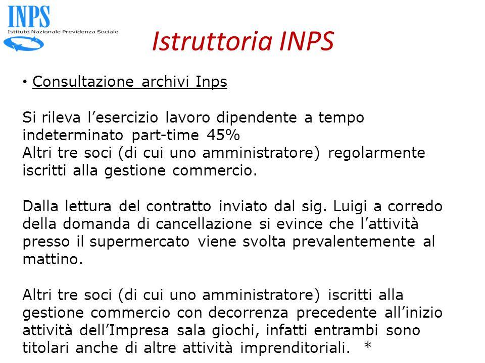 Istruttoria INPS Consultazione archivi Inps