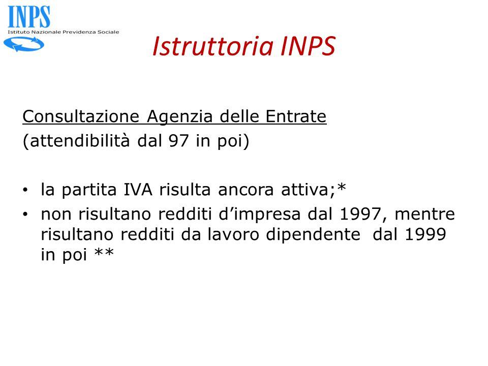 Istruttoria INPS Consultazione Agenzia delle Entrate