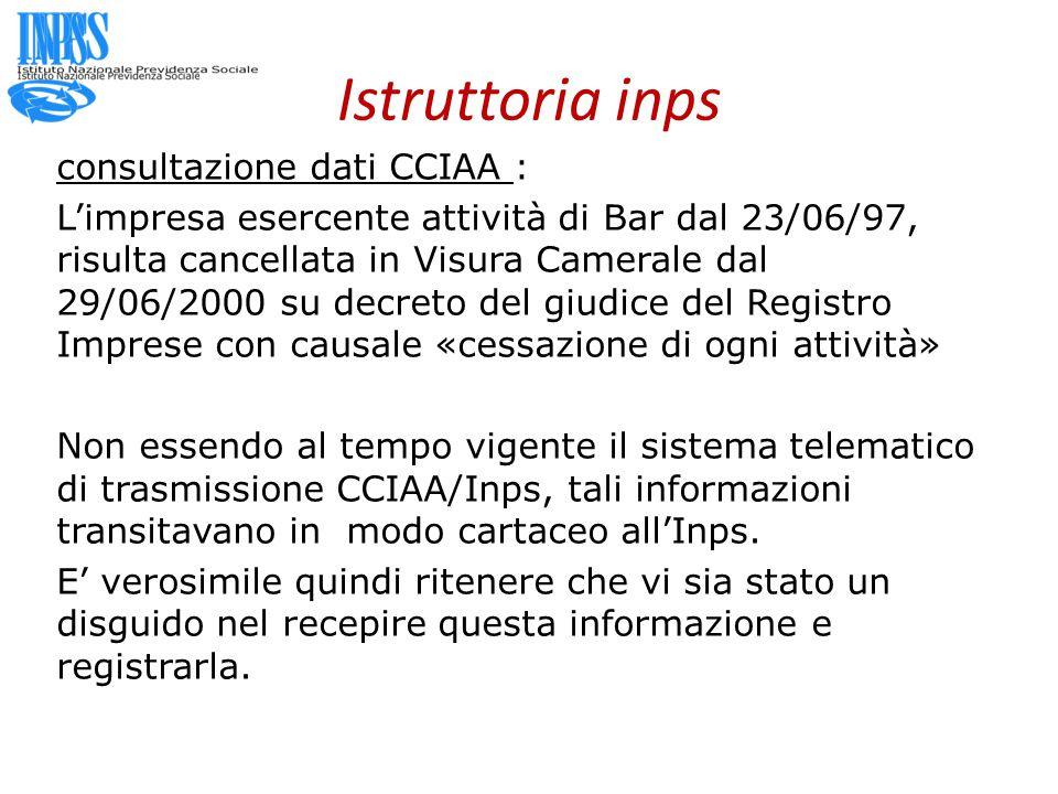 Istruttoria inps consultazione dati CCIAA :