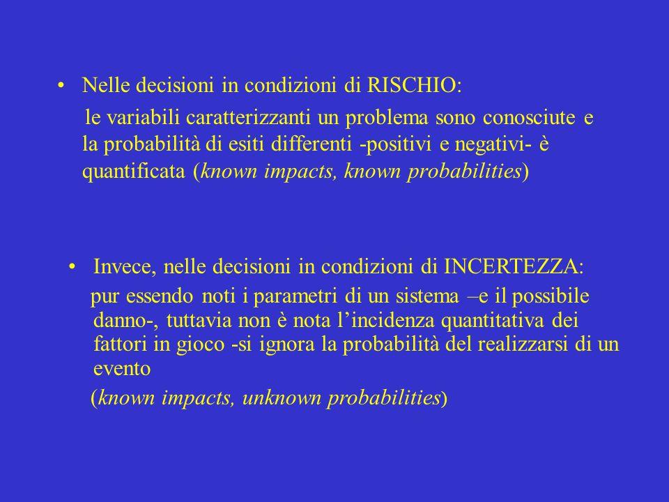 Nelle decisioni in condizioni di RISCHIO: