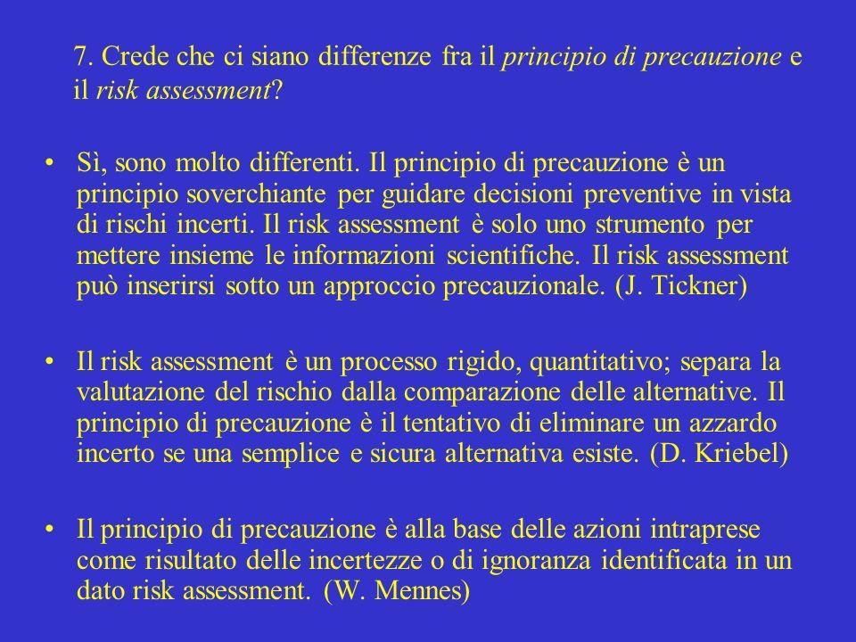 7. Crede che ci siano differenze fra il principio di precauzione e il risk assessment