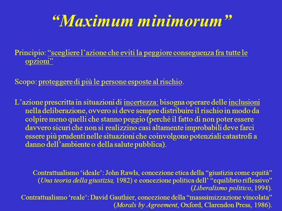Maximum minimorum Principio: scegliere l'azione che eviti la peggiore conseguenza fra tutte le opzioni