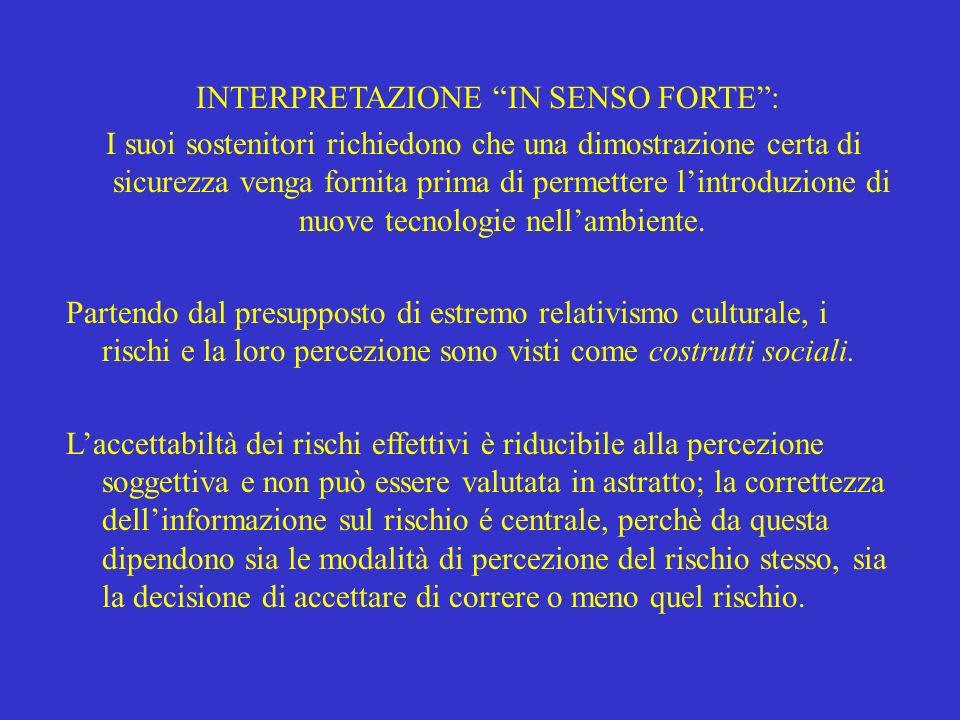 INTERPRETAZIONE IN SENSO FORTE :