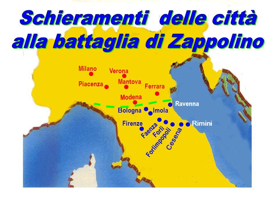 Schieramenti delle città alla battaglia di Zappolino