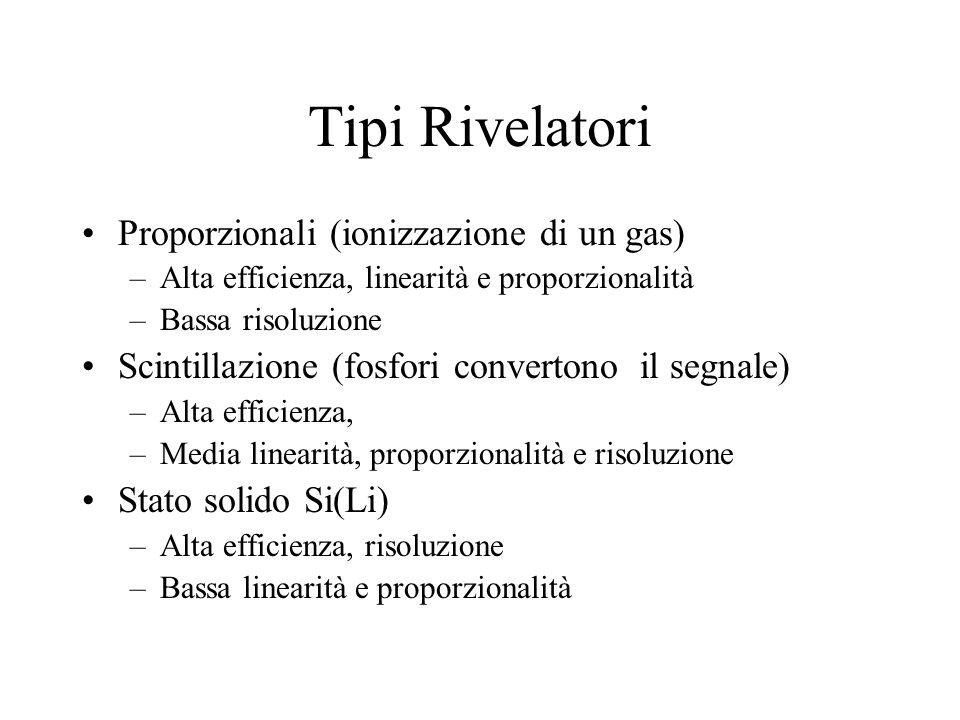 Tipi Rivelatori Proporzionali (ionizzazione di un gas)