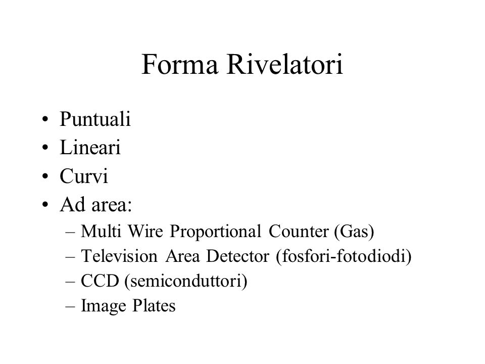 Forma Rivelatori Puntuali Lineari Curvi Ad area: