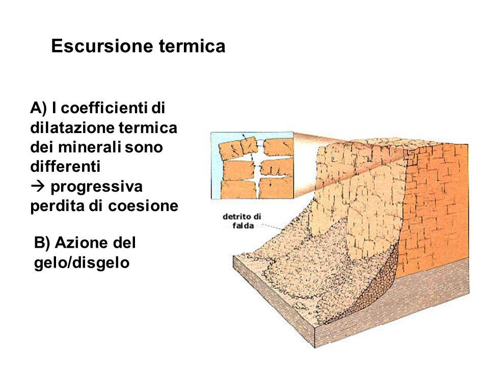 Escursione termica A) I coefficienti di dilatazione termica dei minerali sono differenti.  progressiva perdita di coesione.