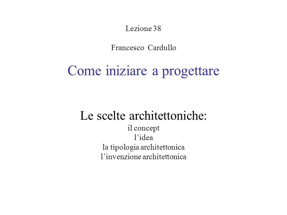 Lezione 38 Francesco Cardullo Come iniziare a progettare Le scelte architettoniche: il concept l'idea la tipologia architettonica l'invenzione architettonica